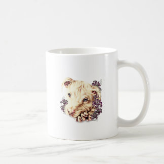Drawing of White Pitbull with Lilies Coffee Mug