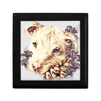 Drawing of White Pitbull with Lilies Gift Box