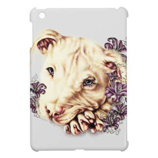 Drawing of White Pitbull with Lilies iPad Mini Case