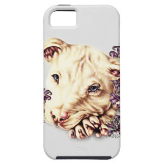 Drawing of White Pitbull with Lilies iPhone 5 Cases