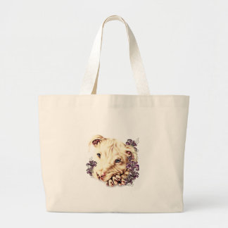 Drawing of White Pitbull with Lilies Large Tote Bag