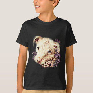 Drawing of White Pitbull with Lilies T-Shirt
