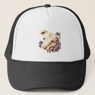 Drawing of White Pitbull with Lilies Trucker Hat