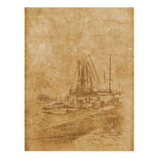 Drawing of yacht club in vintage style postcard