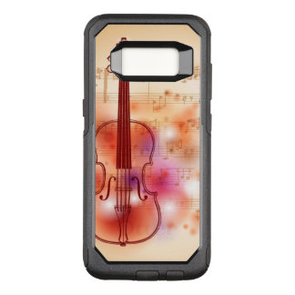 Drawing on watercolor background of violin OtterBox commuter samsung galaxy s8 case