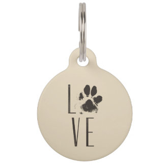 Drawing with a Paw Print that Spells Out Love Pet ID Tag