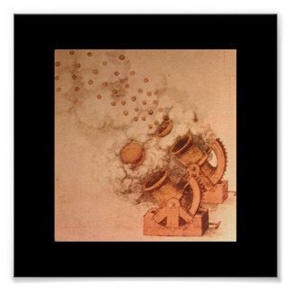 Drawings of Cannons by Leonardo Da Vinci Poster