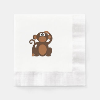 Drawn Brown Cartoon monkey scratching head Disposable Serviette