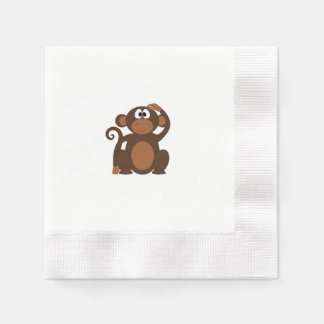 Drawn Brown Cartoon monkey scratching head Paper Napkins