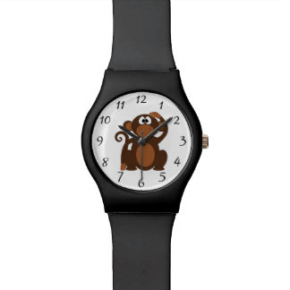 Drawn Brown Cartoon monkey scratching head Watch