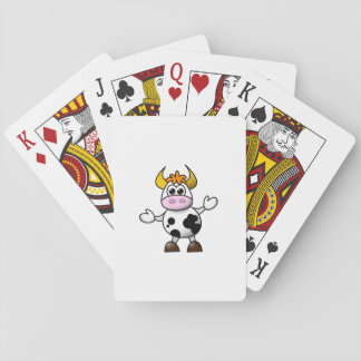 Drawn Cartoon Black and White Cow Bull Playing Cards