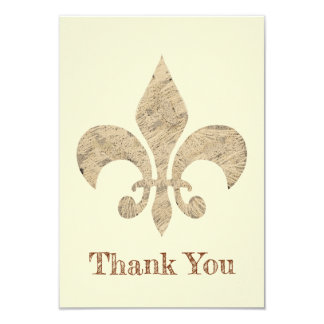 Drawn damask Fleur de Lis Thank you Card
