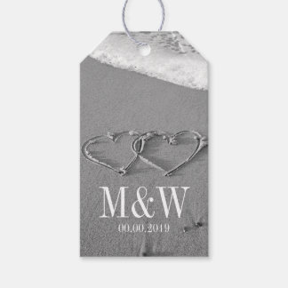 Drawn hearts in sand beach wedding favor gift tags