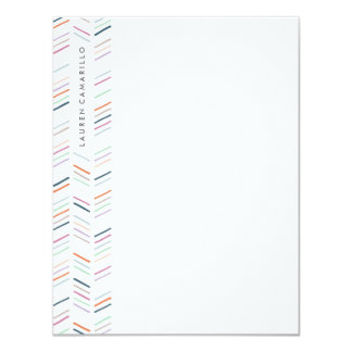 Drawn Herringbone Stationery - Fuchsia Card