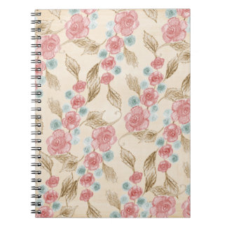 Drawn Retro Floral Pattern Notebooks