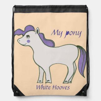 """Drawstring Backpack """"Pony White Hooves"""""""