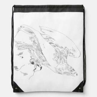 Drawstring backpack with Pen and Ink of Eagle