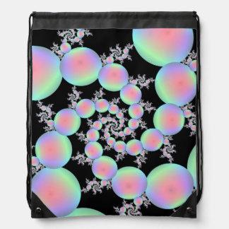 Drawstring Bag Pink and Turquoise Balloon Spiral
