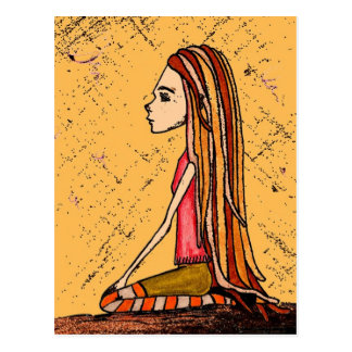 dreadlock girl postcard