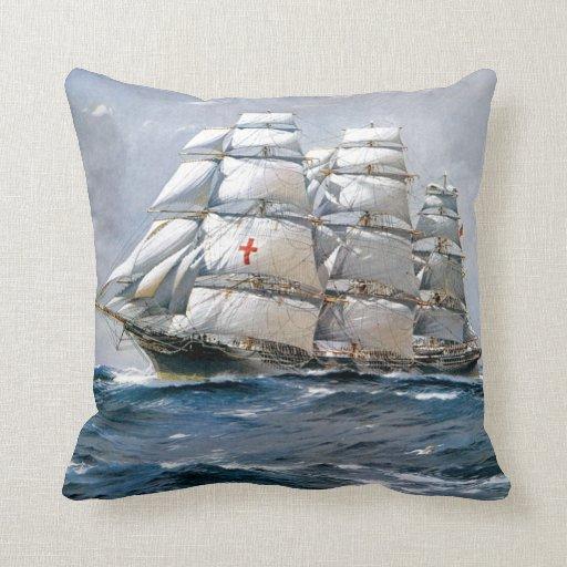 Dreadnought Sailing Clipper Throw Pillow