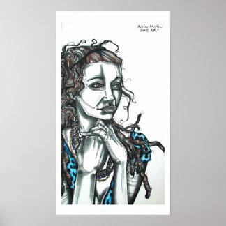 dreads blue pokadot poster