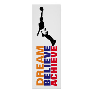 Dream Believe Achieve Basketball Pop Art Poster