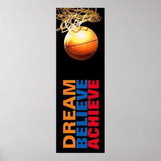 Dream Believe Achieve Basketball Stylish Door Poster