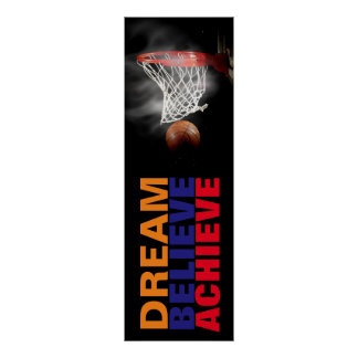 Dream Believe Achieve Basketball Stylish Door Poster