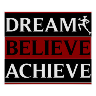 Dream Believe Achieve Fitness Poster