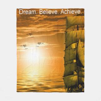 dream believe achieve motivational quote fleece blanket