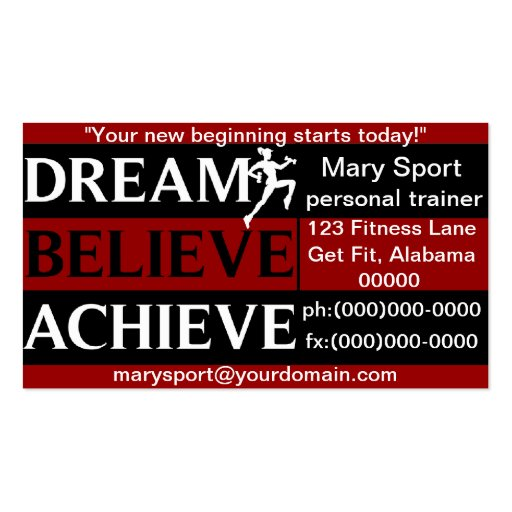 Dream Believe Achieve Personal Trainer Business Card