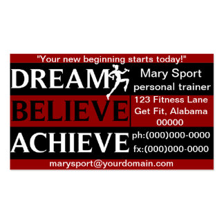 Dream Believe Achieve Personal Trainer Pack Of Standard Business Cards