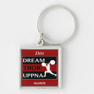 Dream Believe Achieve Swedish Weightlifter Keychai Silver-Colored Square Key Ring