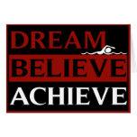 Dream Believe Achieve Swimming Greetings Card