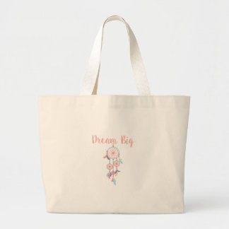 Dream Big Dreamcatcher Dream Catcher in Peach Large Tote Bag