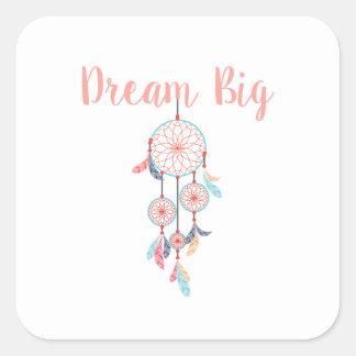 Dream-Big-Dreamcatcher-peach Square Sticker
