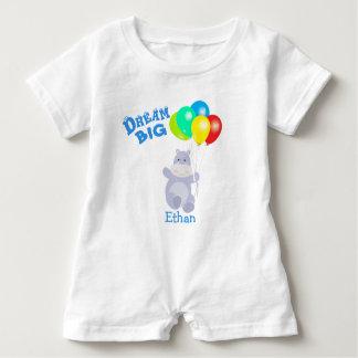 Dream Big Hippo Balloons Adventure Baby Bodysuit