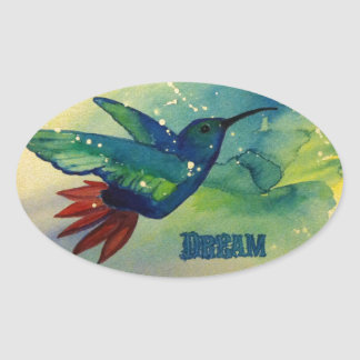 Dream Big! Hummingbird Watercolor Painting Oval Sticker