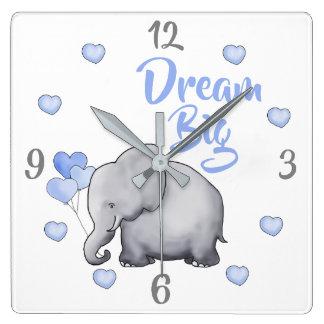 Dream Big Inspiring Baby Blue Elephant Nursery Square Wall Clock