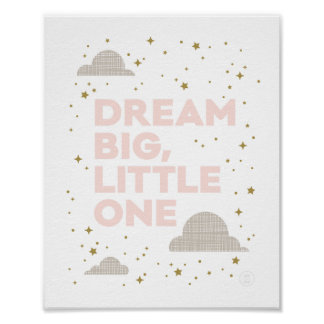 Dream Big, Little One Art Print in Blush Pink