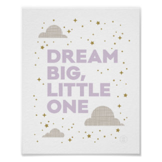 Dream Big, Little One Art Print in Lavender Purple