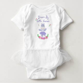 Dream Big Little one, Purple Hippo Ballerina Baby Bodysuit