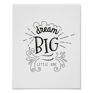 Dream Big Little One Quote Art Print,Nursery Decor