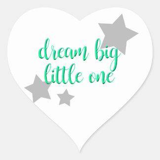 dream big little one simple modern baby heart sticker