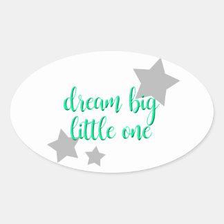 dream big little one simple modern baby oval sticker