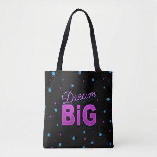 Dream big motto pink black neon 80s 90s style tote