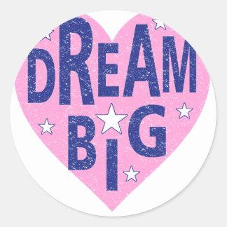 Dream big vintage heart classic round sticker