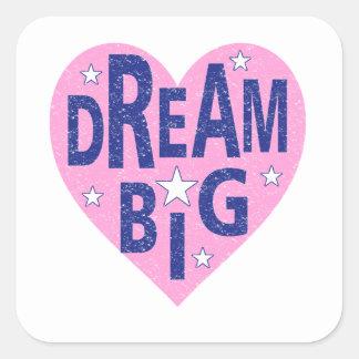 Dream big vintage heart square sticker