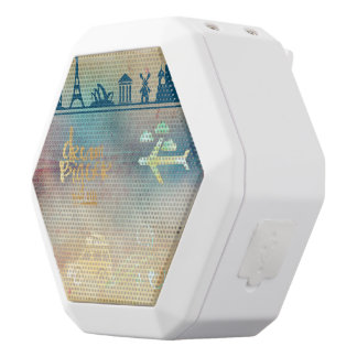 Dream big,vintage paper colorful,travel collage white boombot rex bluetooth speaker