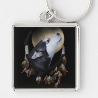 Dream catcher and blue eyed Husky Silver-Colored Square Key Ring